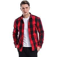 KOGO Men's Slim Fit Casual Long Sleeve Plaid Flannel Fleece Shirt