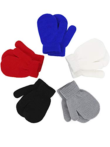 Boao 5 Pairs Stretch Full Finger Mittens Knitted Gloves Winter Warm Kid Gloves for Baby Boys and Girls Supplies (Color Set 1, 5-10 Years Size) (Knit Kids Mitten)