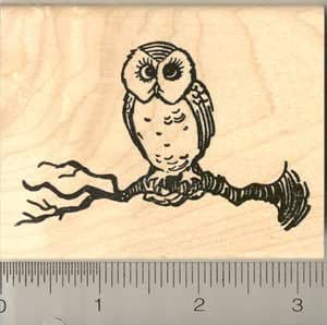 Cute owl on tree branch rubber stamp wood for Rubber stamps arts and crafts