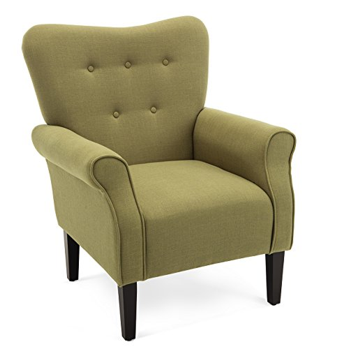 t Chair Roll Arm Living Room Cushion Linen w/Wooden Leg (Avocado) ()