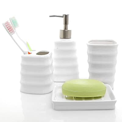 MyGift 4 Piece Ribbed White Ceramic Bathroom Accessory Set w/Toothbrush Holder, Tumbler, Soap Dish & Dispenser - A set of bathroom counter top accessories made of white ceramic materials and featuring a chic ribbed design. Features 1 tumbler, 1 toothbrush container, 1 soap dish, and 1 lotion or liquid soap dispenser. Perfect for organizing and decorating your bathroom or for giving as a gift for a housewarming or a wedding. - bathroom-accessory-sets, bathroom-accessories, bathroom - 41KSEnYDxvL. SS400  -