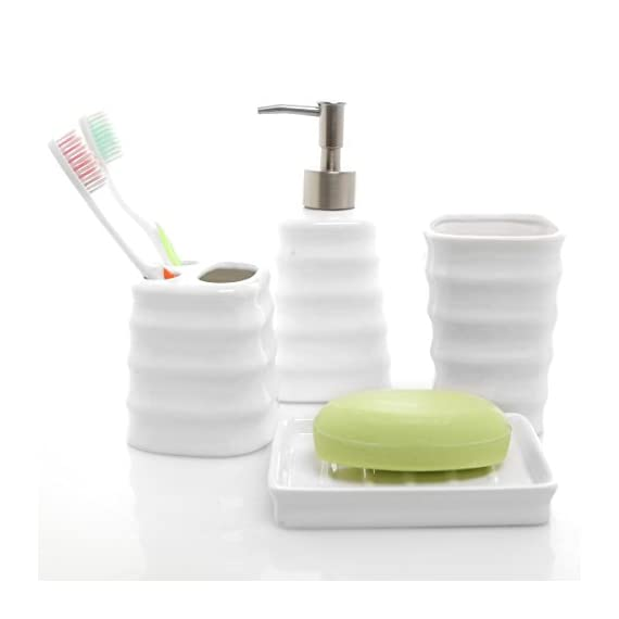 MyGift 4 Piece Ribbed White Ceramic Bathroom Accessory Set w/Toothbrush Holder, Tumbler, Soap Dish & Dispenser - A set of bathroom counter top accessories made of white ceramic materials and featuring a chic ribbed design. Features 1 tumbler, 1 toothbrush container, 1 soap dish, and 1 lotion or liquid soap dispenser. Perfect for organizing and decorating your bathroom or for giving as a gift for a housewarming or a wedding. - bathroom-accessory-sets, bathroom-accessories, bathroom - 41KSEnYDxvL. SS570  -