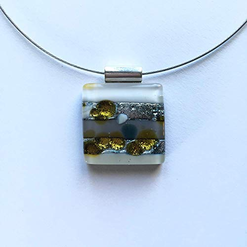 Fused Glass Graphic Jewelry/square pendant/necklace/fused glass/contemporary art piece/Christmas present/gift for her/dichroic - Fused Pendant Glass Square