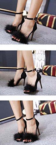 SHEO sandalias de tacón alto Señoras Europa y los Estados Unidos multa alta con la palabra hebilla sandalias Negro
