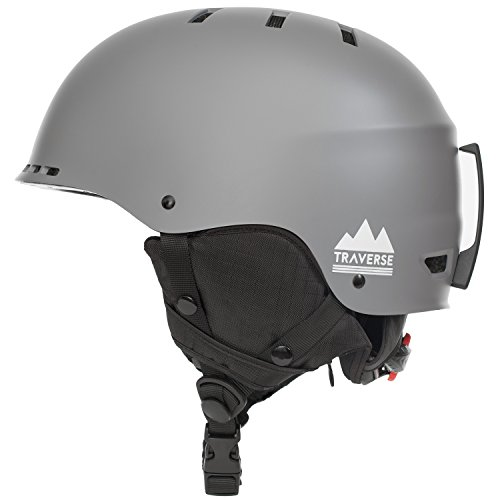 Traverse Sports 2152 2-in-1 Convertible Ski and Snowboard/Bike and Skate Helmet, Matte Slate, Small/Medium