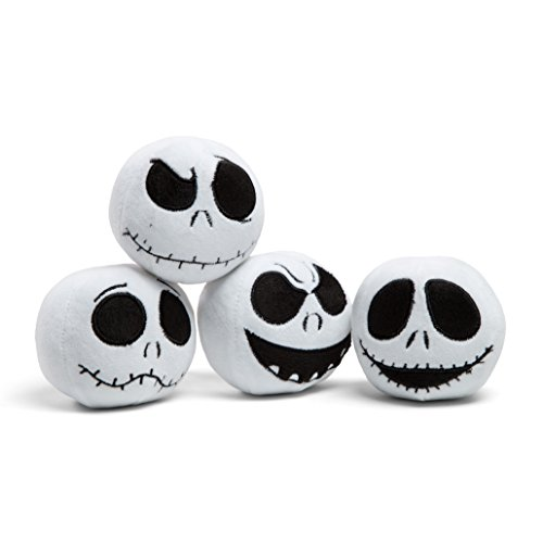 Embroidered Jack - Disney Nightmare Before Christmas Jack Skellington Expressions Embroidered Plush Balls, Set of 4, Dog Toy, Cat Toy, Squeaker inside; Collector's Edition, 3.5