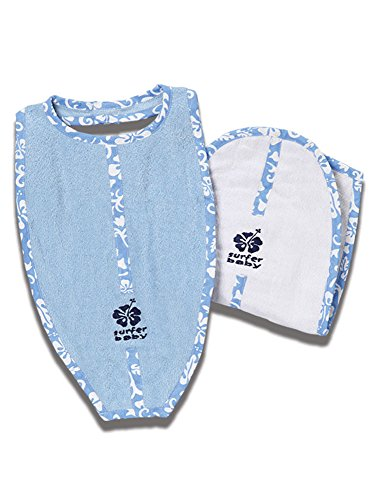 Surfer Baby Large Surfboard Shaped Baby Bib and Surf board shaped Burp Cloth Set with Blue Hawaiian trim