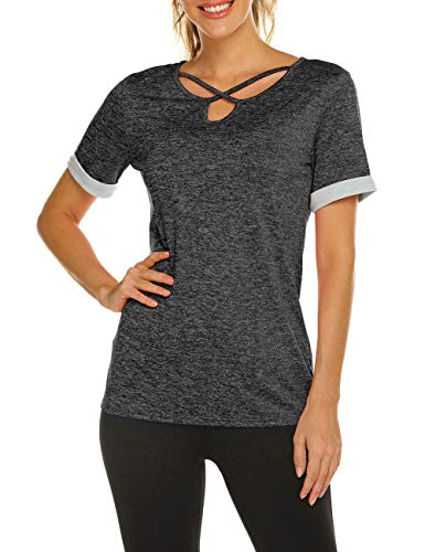 Women's Yoga Tops Short Sleeve Activewear Shirt for Sport Running(Dark Grey,XL)