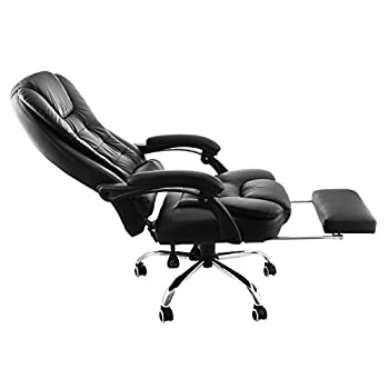OrangeA High Back Office Chair Ergonomic PU Leather Executive Office Chair 360 Degree Swivel Reclining Office Chair with Footrest Black Computer Desk Chair (Executive chair)