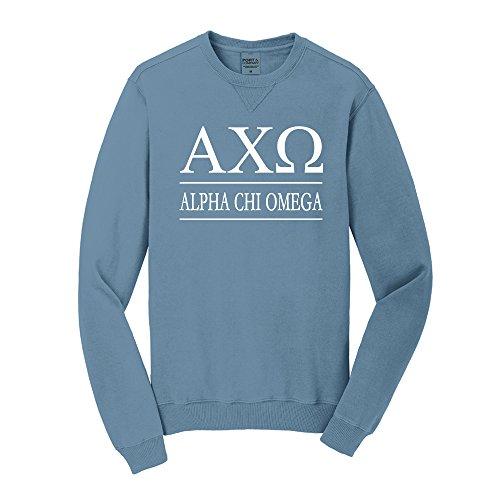 Sorority Letters Shop Alpha Chi Omega Vintage Color Crewneck Sweatshirt (Unisex S, Blue Mist)