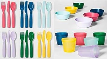 Amazon.com: Juego de platos de plástico para niños, 30 ...