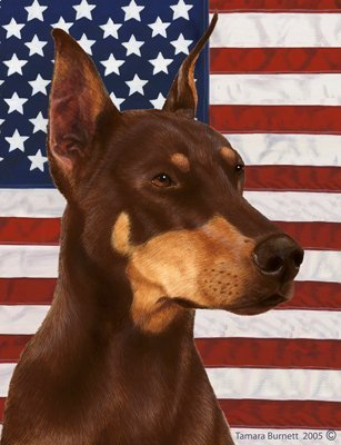 Doberman Red Cropped - Best of Breed Patriotic II Large Flags by Best of Breed ()