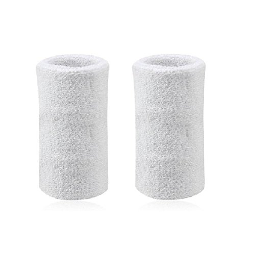 Mcolics 6' Inch Wrist Sweatband in 11 Athletic Cotton Wristbands Armbands (1 Pair) (White)