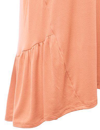 USA Awtts0382 Hem Doublju Dress Fit in Womens Ruffle Sleeve Short Made peach Loose Tunic with x7TOx