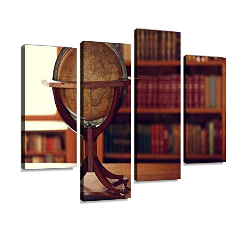 - Library Interior Canvas Wall Art Painting Pictures Modern Artwork Framed Posters for Living Room Ready to Hang Home Decor 4PANEL