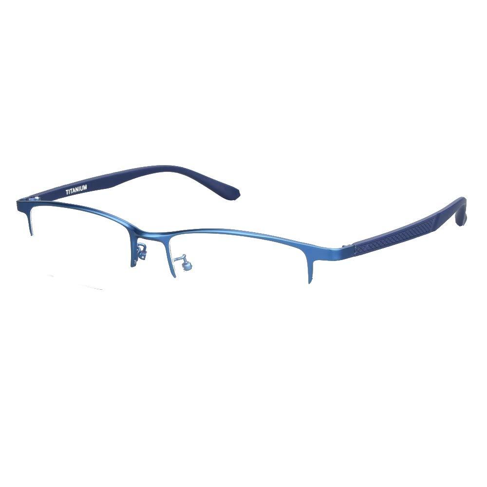 Pure Titanium Men Rectangle Eyewear Half Rim Business Eyeglasses Optical Glasses Frame With Non-Prescription Clear Lenses