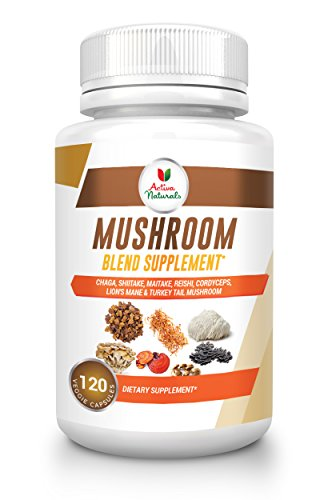 Activa Naturals Mushroom Supplement (120 Veg. Caps) with Blend of 7 Nutritional Supplements of Turkey Tail, Reishi, Lion Mane, Maitake, Cordyceps, Chaga & Shiitake Mushrooms
