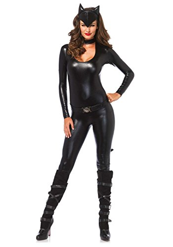 Leg Avenue Women's 3 Piece Frisky Feline Catsuit Costume, Black, (Catwoman Costumes For Women)