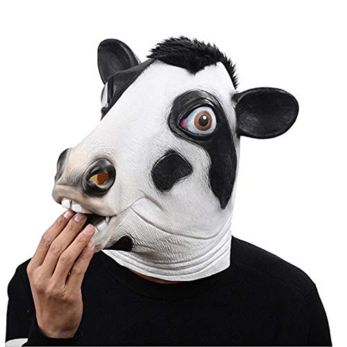 COSMOVIE Cute Cow Mask Halloween Animal Head Latex Masks ()