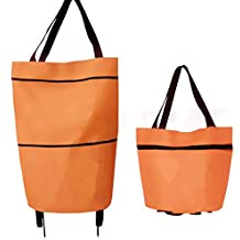 Women Large Folding Shopping Cart Basket Collapsible Trolley Dual Wheel Foldable Trolley Cart Luggage Shoulder Hand Bag Cart Portable Tote
