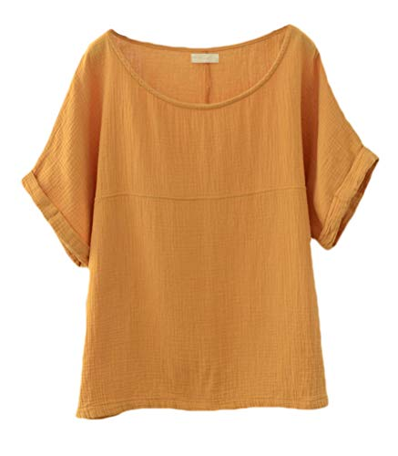 Soojun Women's Solid Round Collar Linen Tops Patchwork Shirts Blouses Yellow, ()