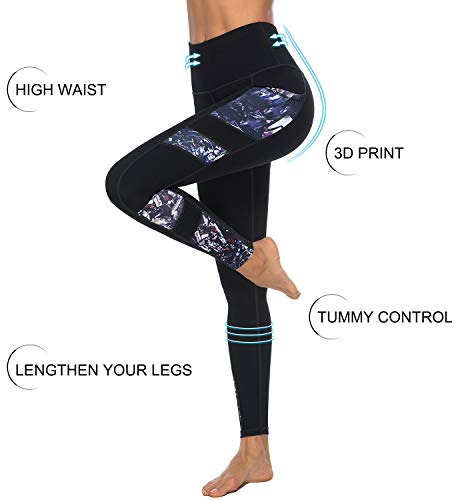 Persit Yoga Pants for Women with Pockets High Waisted Print Workout Leggings Athletic Gym Soft Yoga Leggings - Black - L