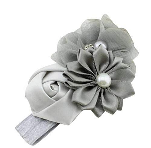 Baby Girl Flower Pearl Flower Hair Band Headband Hairband Hair Accessories GY Gray