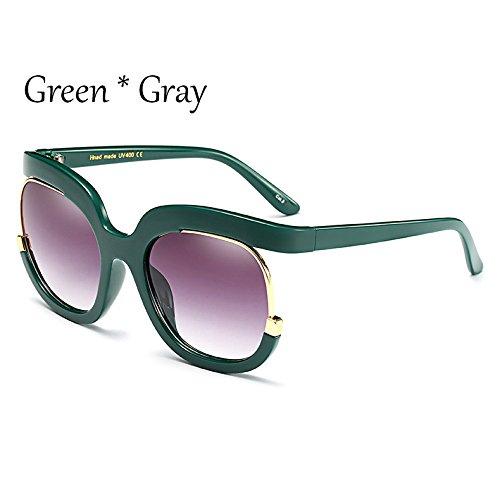 C5 TIANLIANG04 Sol Gradiente Mujer Sol Gray Green Gafas Bastidor De Vintage Señoras Rojo Clout C6 De De Gafas Gafas Marco Grande tUUIr