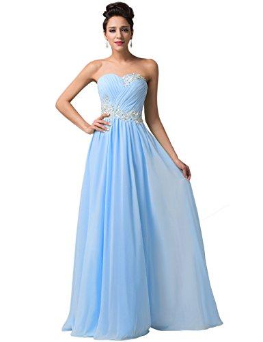 Yafex 12193406- Vestidos Largos Fluidos Para Mujer, Elegante, Sin Mangas Sin Espalda, Con Pliegues- Noche Azul (Sky Blue)