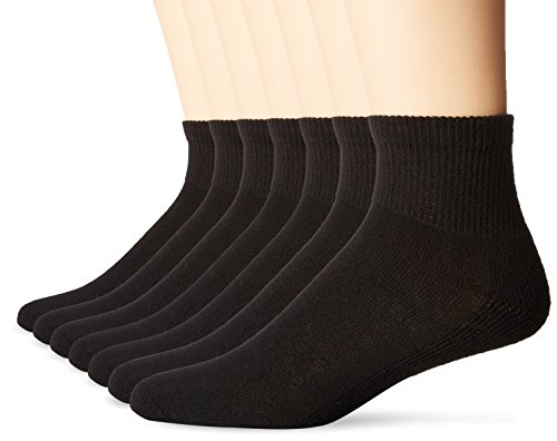 No Nonsense Mens Cushioned Ankle Socks (6 Pack) Made in USA, Black, Sock Size:10-13/Shoe Size: 6-12, 6-12