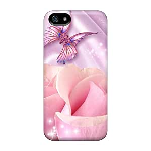 New Snap-on BeverlyVargo Skin Cases Covers Compatible With Iphone 5/5s- Pink Roses On Lavender Satin