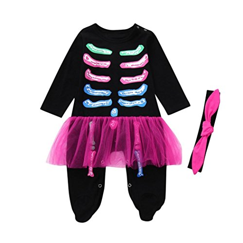 Hunzed Halloween Multicolor Bone Romper, Newborn Toddler Baby Girls Jumpsuit+Hat Costume Outfits (24M, Black) -