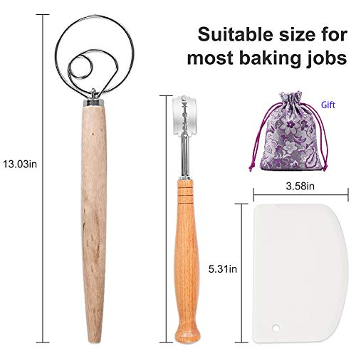 Bread Scoring Knife, Dough Whisk and Danish Bread Lame Set Stainless Steel Hook Wooden Handel Making Tools To Mixing Sourdough Baking Pizza (1 Whisk &1 Lame &5 Replaceable Blades &1 Scraper Included)