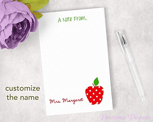 Personalized Teacher Notepads - Personalized Red Polka Dot Apple Notepad