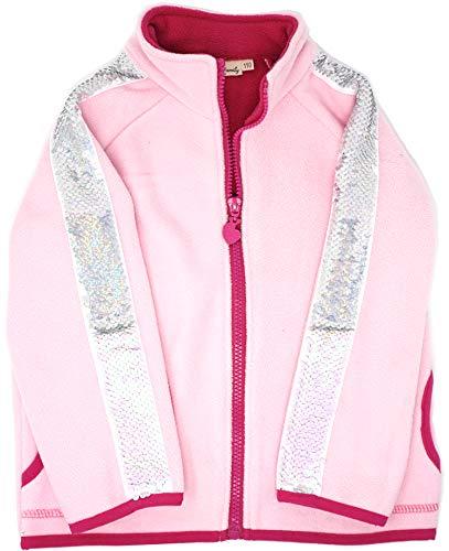 Fleece Reversible Jacket - Glitter Flip Sequin Girl's T-Shirt Top Short/Long Sleeve, Fleece Jacket 3-12 Years (10, Stripe Pink Jacket)