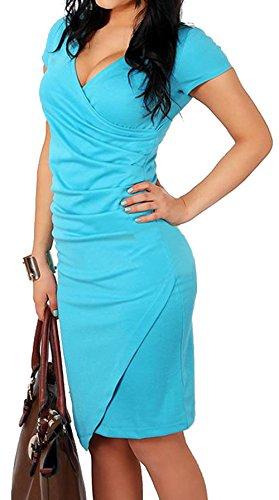 Vídeo de las mujeres V cuello Plain elegante negocios vestido de lápiz de Fiesta animada azul mar