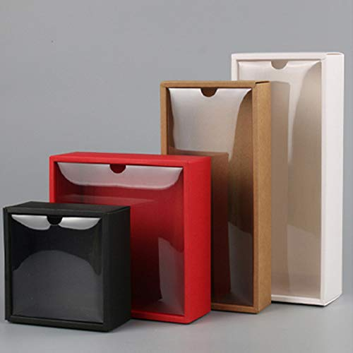 Xiaogongju 10Pcs Clear PVC Lid Red/White/Black/Kraft Paper Box Handmade Soap Candy Chocolate Biscuit Boxes for Wedding Party Gift Wrap Kraft Inner Size 250x95x60mm ()