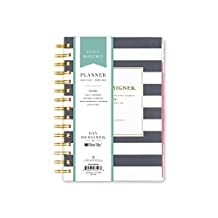 """Day Designer for Blue Sky 2017-2018 Academic Year Daily & Monthly Planner, Wire-O Binding, 5"""" x 8"""", Navy Stripe"""