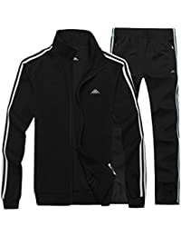Men's Classic Striped Winter Tracksuit Running Joggers Sports Warm Sweatsuit Big