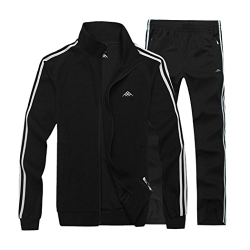 Modern Fantasy Men's Classic Striped Winter Tracksuit Running Joggers Sports Warm Sweatsuit Big Black XXXL