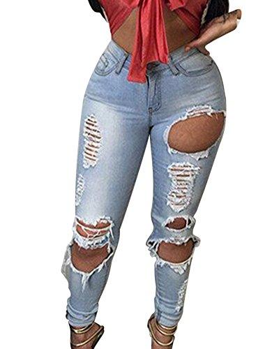 Skinny Mezclilla Agujero Pantalones Claro Vaqueros Azul de del Mujeres dqxYTBwd
