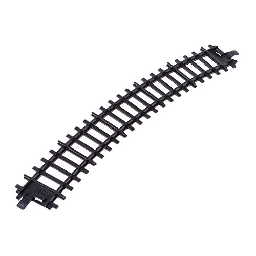 MagiDeal HO Scale Plastic Model Railroad Train Curved Track Toy Scenery Layout Black