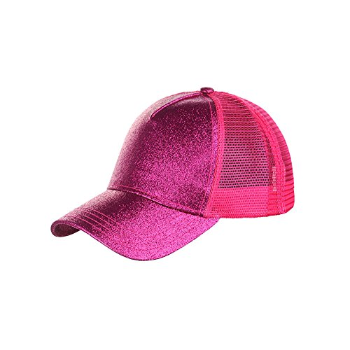 Ztl Glitter Baseball Cap High Messy Bun Ponytail Adjustable Mesh Visor Cap - Cap Womens Child