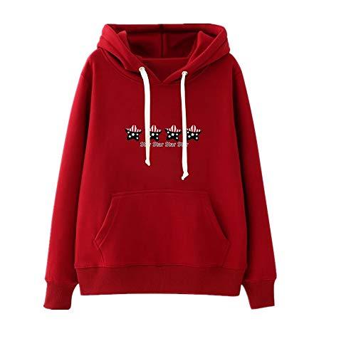 Fodera E Dimensione M Rosso Da colore Cappuccio Stampata Yingsssq Casual Felpa Con Donna Nero 60Rf1p8R