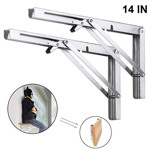 "Heavy Duty Folding Shelf Brackets, 2pcs 14"" Stainless Steel Collapsible Shelf Bracket with Mounting Screws Space Saving DIY Bracket Max Load 400 lb"