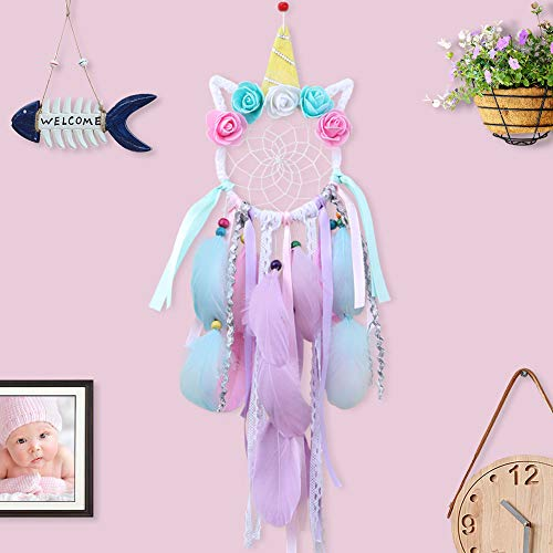 AerWo Unicorn Dream Catchers for Kids, Handmade Flower Pink Dream Catcher for Girls Bedroom Wall Hanging Decoration