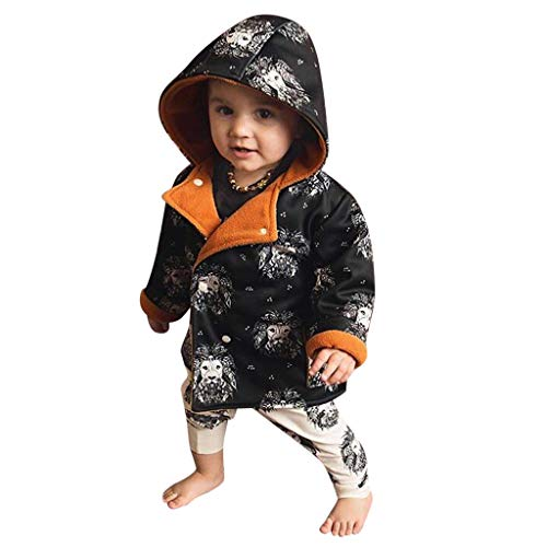 Clothes For Newborn Kids Baby Winter Cartoon Lion Print Coat Hooded Jacket Warm Outerwear Outfits Homewear Long Sleeve Trench Coat For Children Toddler Baby Girl Kid Blouse Shirt (Black, 12-18M)