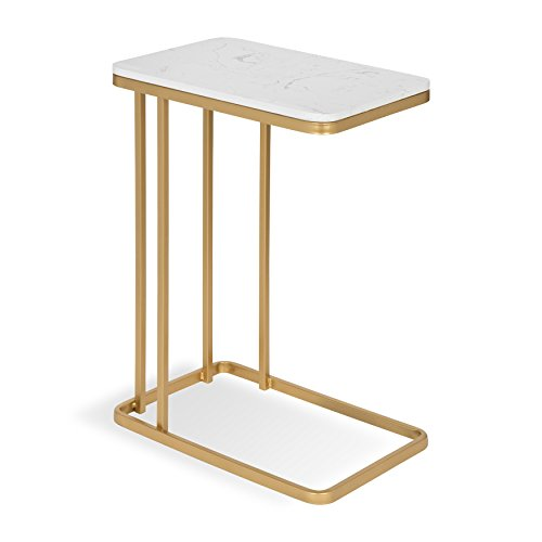 - Kate and Laurel 213078 Credele Modern-Glam Sofa Side C-Table with Gold Metal Base and Man-Made Marble Top, 12x18.5x27,