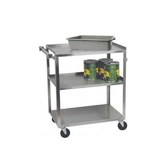 Focus Foodservice 90312 utilidad de acero inoxidable carrito, 3 estantes, 15 – 1/
