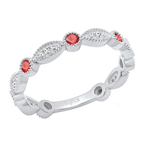 - 14K White Gold Round Ruby & White Diamond Ladies Stackable Wedding Band Ring (Size 9.5)